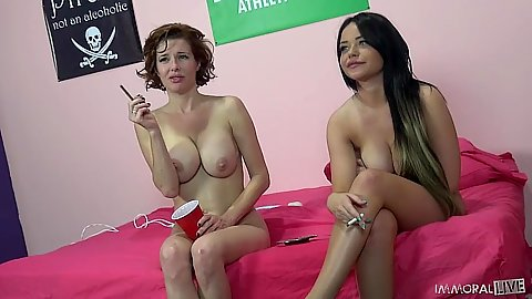 Rachelle Richey and Veronica Avluv having a smoke in the middle of sex break
