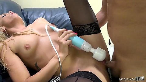 Vibrator stockings close up pussy entry Channel Rae