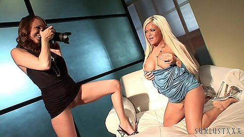 Tender skinny milfs Crista Moore adn Charlie Laine stripping for each other