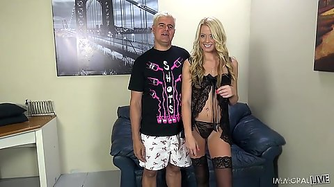 Blonde in lingerie Channel Rae blowjob with heart