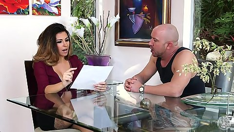 Fully clothed mom Danica Dillon moves down to suck off man