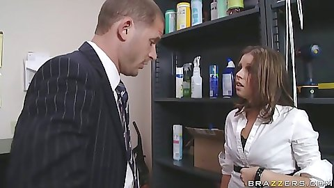 Slut fucks up at office and has to fuck Scott now