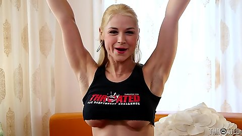 Playful blonde Sarah Vandella pov blowjob with deep throat