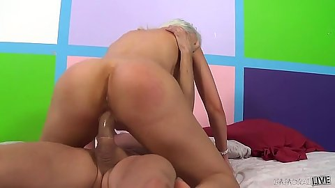 Cowgirl mounted on penis with blonde Gigi Allens and open mouth cumshot