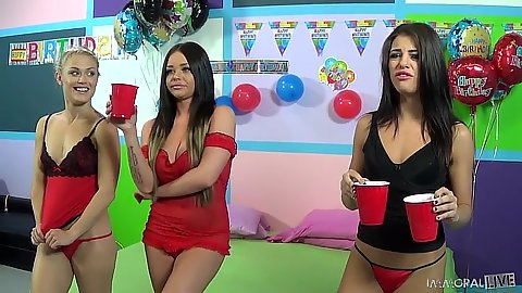 Girls in lingerie during party Adriana Chechik and Ash Hollywood and Rachelle Richey