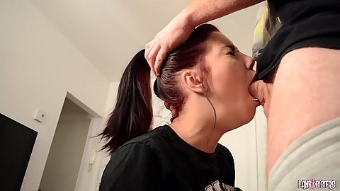 Deep throat petite redhead with human studies chick