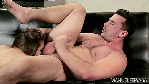 Brunette eating out his ass right there in the office