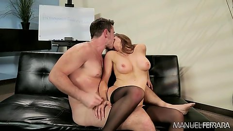 Reverse cowgirl medium boobs office fuck in stockings