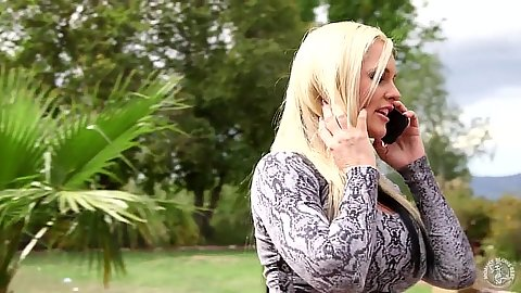Frisky blonde fully clothed Alena Croft proceeds to suck dude off