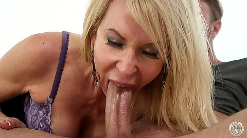 Cock sucking blonde milf Erica Lauren opens mouth for ejaculation cumshot