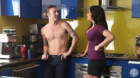 Fully clothed mom milf Claudia Valentine goes down on dick in kitchen