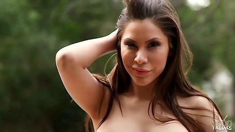 Outdoor babe milf cougar Aleksa Nicole sucking and pov titty fuck