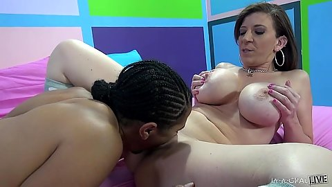 Alluring big boobs milf Sara Jay in interracial vagina eating and blowjob
