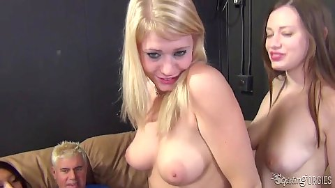 Natural tits girls Allie James and Natalie Moore and Jayden Lee suck cock in group