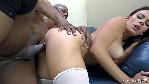 Medium boobs Raven Bay and Kayla West in black cock white girls threesome