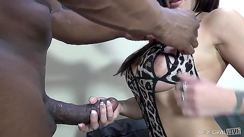 Raunchy interracial handjob with cock craving Lylith Lavey
