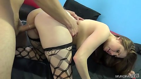 Group doggy style with fishnet girls Farrah Flower and Nickey Hunstman and Allison Moore