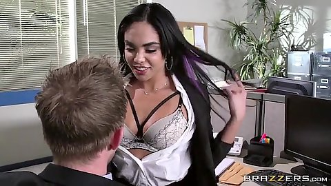 Intimate latina Selena Santana in the office acting all naughty