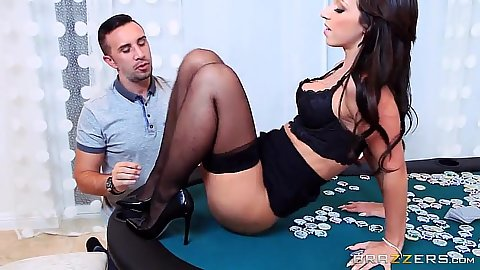 Girl on poker table in lingerie with Jada Stevens