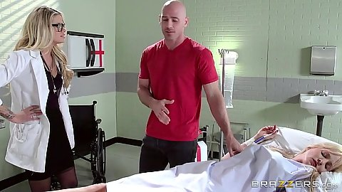 Doctor Jessa Rhodes fully clothed visits dudes sick wife