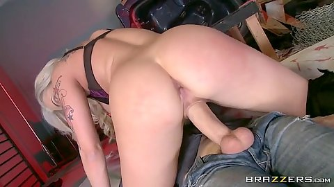 Cowgirl blond sitting on dick with Dahlia Sky