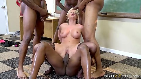 Spicy blonde reverse cowgirl milf sex in gang bang in class with Alena Croft