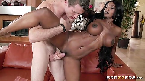 Standing fuck hardcore with white cock black girl Diamond Jackson action