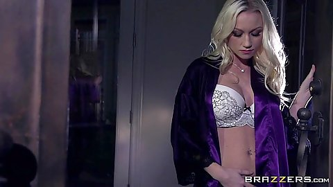 Fresh blonde babe Madison Scott walks around in sex bras and panties