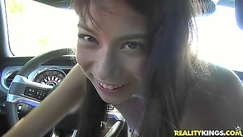 Pov blowjob in my car with flat chest teen Hazel Rose for some money