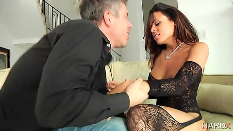 Lingerie latina pumped on sofa with Luna Star