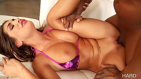 Big boobs black cock white girl banging from seductive August Ames
