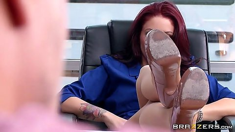 Monique Alexander a redhead milf flashing her feet at male in class