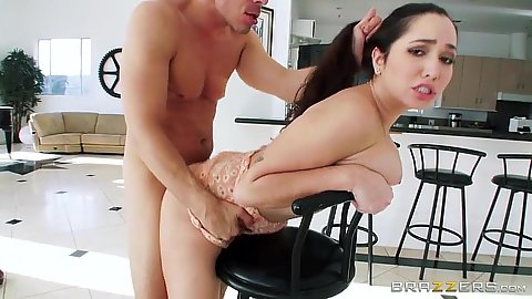 Lovely 20 year old slut Karlee Grey doggy style over stool