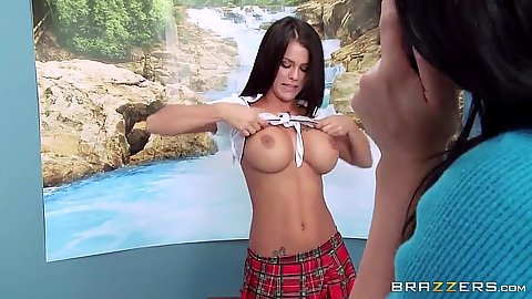 Arousing Peta Jensen flashing her tits in great cheerleader uniform