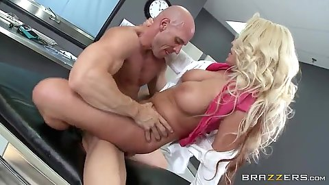 Hospital bed doctor pounding with Sadie Swede
