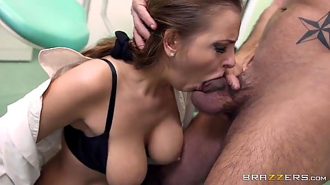 Doctor deep throats and then squirts while getting anal fucked Candy Alexa