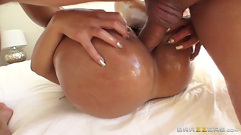 Oiled up anal drilling with horny latina Rose Monroe