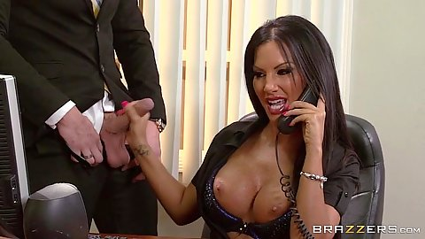 Office Elicia Solis does handjob while on the phone then sucks it