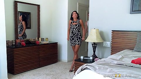 Milf Lezley Zen enters room and gets used by two males