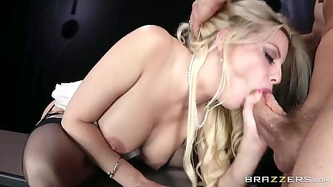 Blowjob with blonde Britney Amber and anal sex on desk