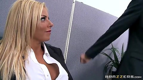 Blonde milf Britney Shannon takes off her bra in office