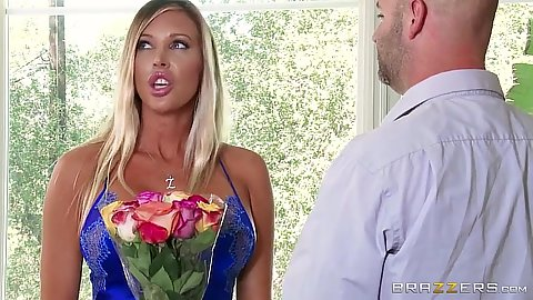 Super ncie looking fully clothed Samantha Saint shows off her nipples
