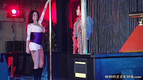 Stripper Karmen Karma doing striptease on stage