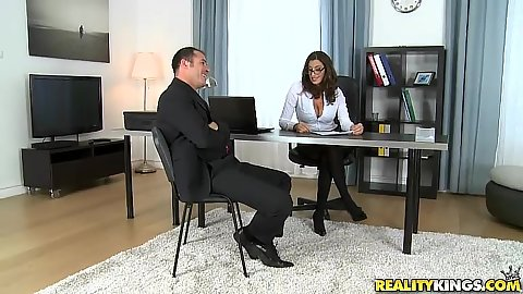 Office milf fully clothed makes out with co workerSensual Jane