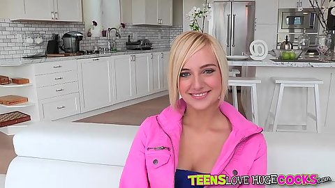 Smiling blonde young teen Kate England shows her cunt