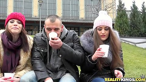 Having some coffree with public euro girls Lucia Love and Kendra Star