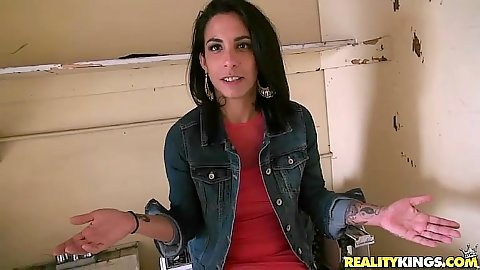 Latina Tricsy Star gets naked and sucks in pov