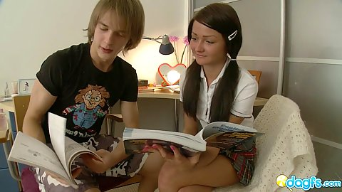 18 year old Miley doing her homework and kisses her tutor