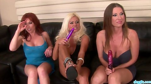 Group of lesbian whores with sex toys Rayveness and Nikita Von James with Devon Lee