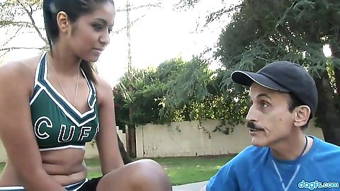 Latina cheerleader in uniform Ruby Rayes picked up and approached by old man pervert